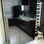 Colonnes salle de bains laqué noir brillant